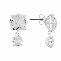 Boucles D'oreilles Pendantes Boucles D'oreilles Double Pierre Carrée Silver Cristal