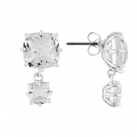 Boucles d'oreilles La Diamantine large pierre carrée