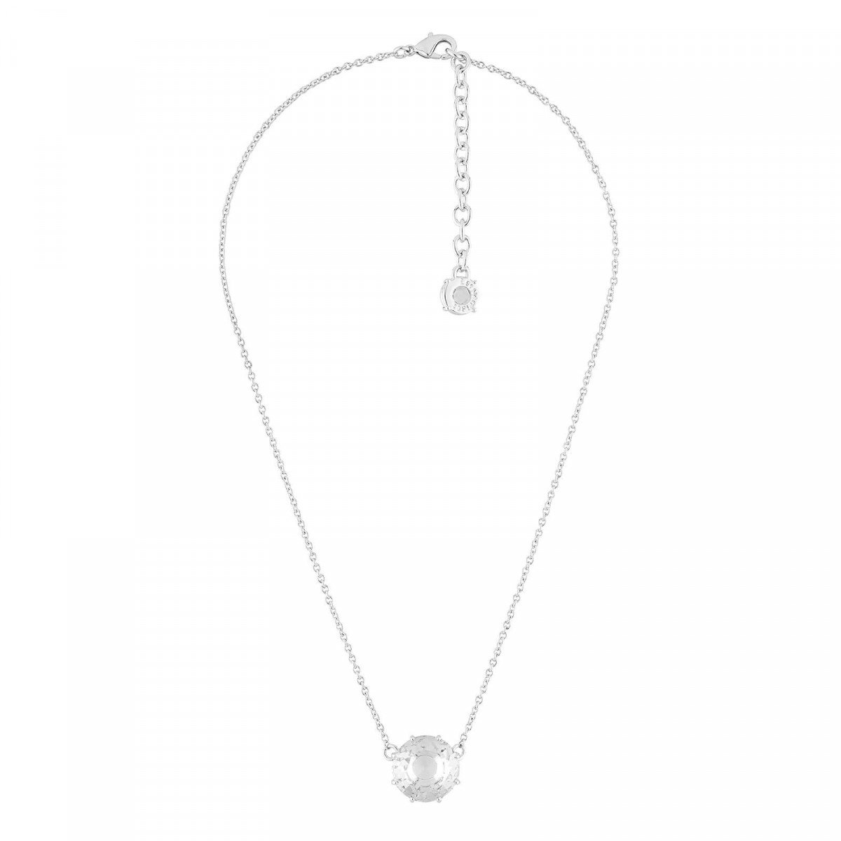 Colliers Pendentifs Collier Pierre Ronde Silver Cristal