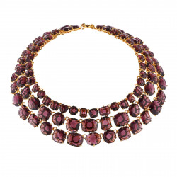 Colliers Plastrons Collier Luxe 3 Rangs Prune