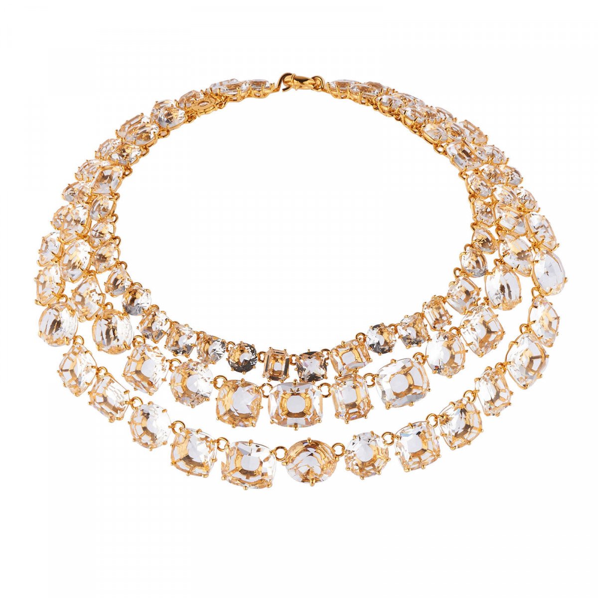 Colliers Plastrons Collier Luxe 3 Rangs Cristal