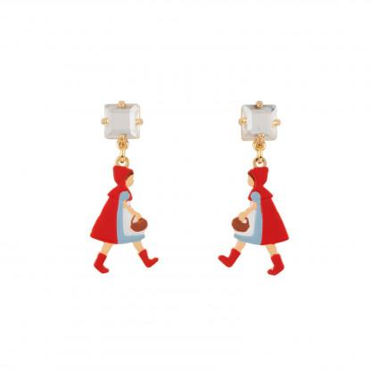 Boucles D'oreilles Boucles D'oreilles Petit Chaperon Rouge Se Promenant Dans Les Bois