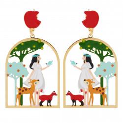 Boucles D'oreilles Originales Boucles D'oreilles Clip Blanche Neige Et Ses Amis Les Animaux Dans Les Bois60,00€ AHBN105C/1N2...