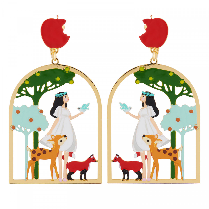 Boucles D'oreilles Boucles D'oreilles Clip Blanche Neige Et Ses Amis Les Animaux Dans Les Bois