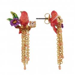 Boucles D'oreilles Pendantes Boucles D'oreilles Petit Canari Corail Sur Branche Fleurie Et Cascade De Chaînes