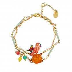 Bracelets Charms Bracelet Perlé Double Chaînes Canari Sur Verre Taillé