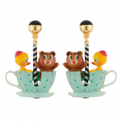 Boucles D'oreilles Originales Boucles D'oreilles Clip Ourson Et Petit Canard Tout Contents Dans Leur Tasse Tournante70,00€ A...