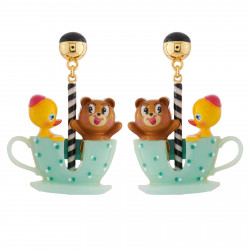 Boucles D'oreilles Boucles D'oreilles Ourson Et Petit Canard Tout Contents Dans Leur Tasse Tournante70,00€ AHJL108T/1N2 by L...