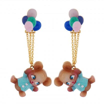 Boucles D'oreilles Originales Boucles D'oreilles Clip Nounours S'envolant Dans Les Airs Avec Ses Ballons D'hélium70,00€ AHJL...