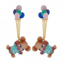 Boucles D'oreilles Originales Boucles D'oreilles Nounours S'envolant Dans Les Airs Avec Ses Ballons D'hélium70,00€ AHJL116T/...