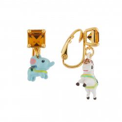 Boucles D'oreilles Boucles D'oreilles Clip Minis Éléphant Et Cheval De Carrousel