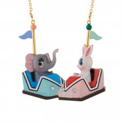Colliers Collier Petit Éléphant Et Lapin Tout Contents Dans Leurs Auto-tamponneuses