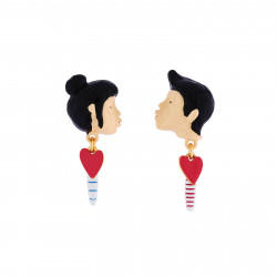 Boucles d'oreille Eclatante Discrétion  Pierre carrée et Fleur