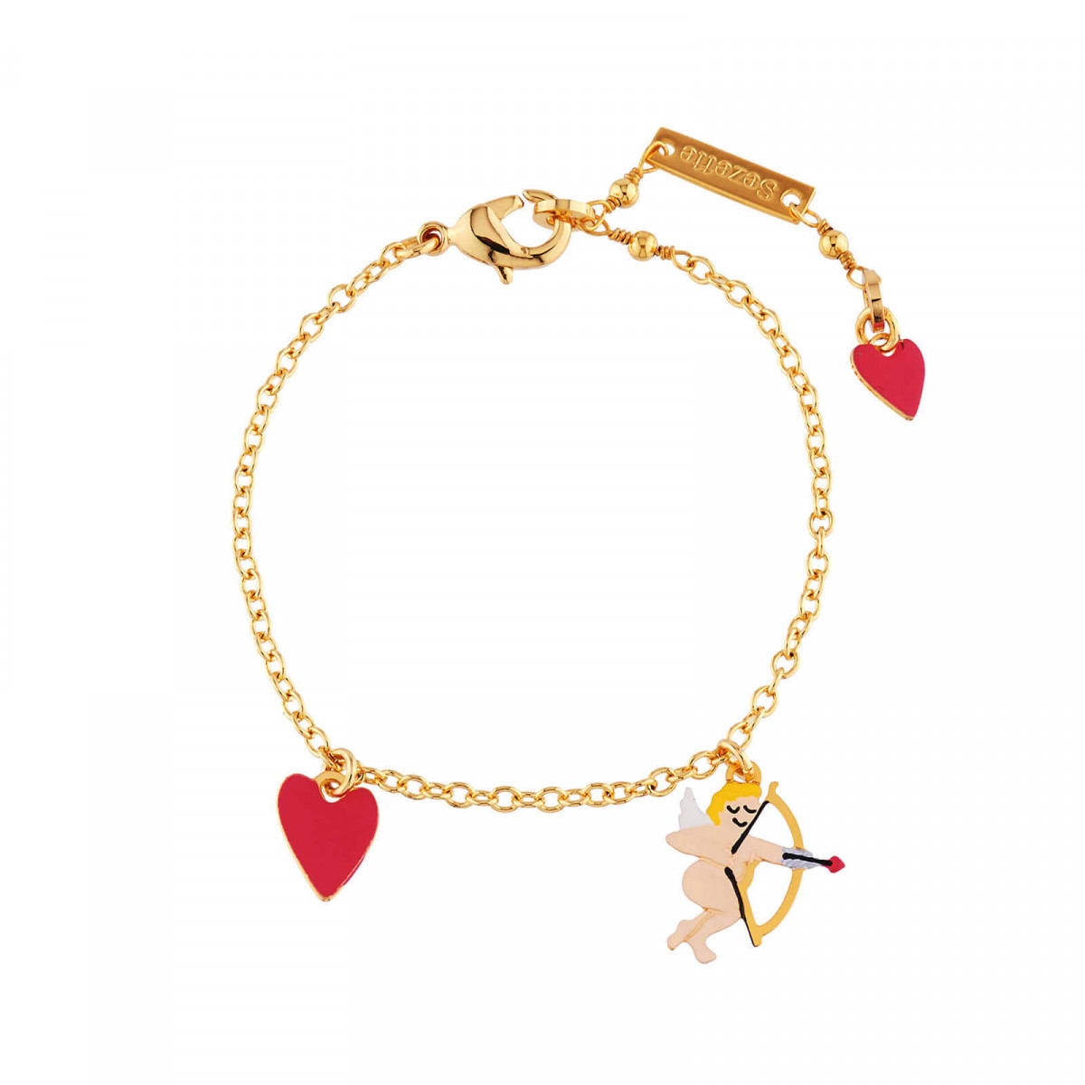 Charm Bracelet With Cupid And Small Heart