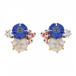 Cornflower On Stone Earrings