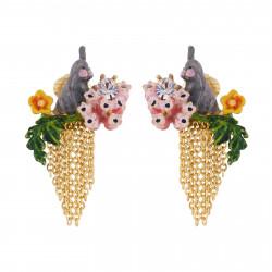 Boucles D'oreilles Clip Boucles D'oreilles Clip Petit Lapin Gris Sur Branche Fleurie Et Cascade De Chaînes