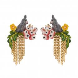 Boucles D'oreilles Pendantes Boucles D'oreilles Petit Lapin Gris Sur Branche Fleurie Et Cascade De Chaînes