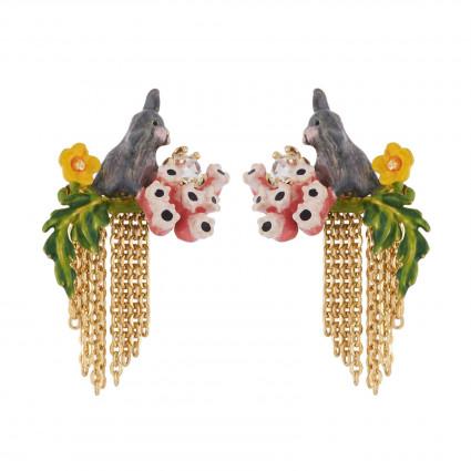 Boucles D'oreilles Pendantes Boucles D'oreilles Petit Lapin Gris Sur Branche Fleurie Et Cascade De Chaînes100,00€ AIDC104T/1...