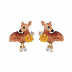 Boucles D'oreilles Tiges Boucles D'oreilles Faon, Fleur Jaune Et Petites Pampilles