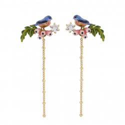 Boucles D'oreilles Pendantes Boucles D'oreilles Mésange Sur Branche En Fleurs Et Chaine95,00€ AIDC113T/1Les Néréides