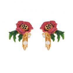 Boucles D'oreilles Clip Boucles D'oreilles Clip Fleur Rouge Et Pampilles