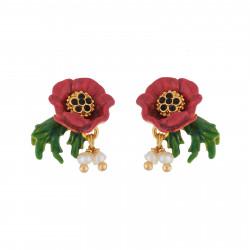 Pendientes De Flor Roja Y...