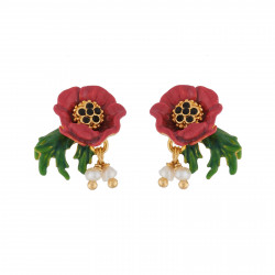 Red Flower And Charms Earrings