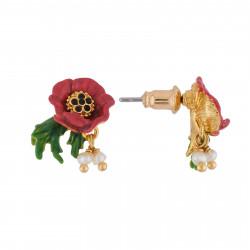 Boucles D'oreilles Tiges Boucles D'oreilles Fleur Rouge Et Pampilles
