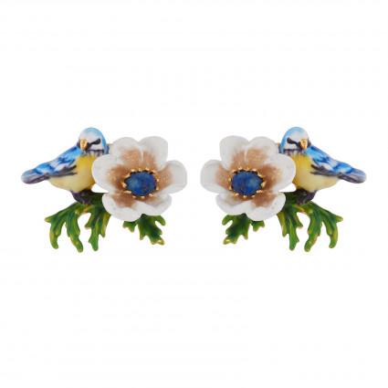 Boucles D'oreilles Tiges Boucles D'oreilles Mésange Et Fleur Blanche