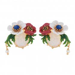 Boucles D'oreilles Clip Boucles D'oreilles Clip Fleurs Rouge Et Blanche Sur Verre Taillé