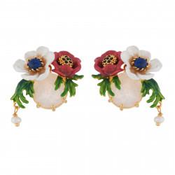 Boucles D'oreilles Tiges Boucles D'oreilles Fleurs Rouge Et Blanche Sur Verre Taillé