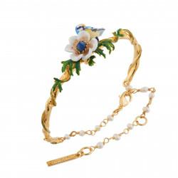 Bracelets Jonc Bracelet Jonc Mésange Et Fleur Blanche Sur Feuilles