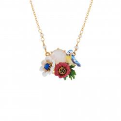Colliers Pendentifs Collier Mésange, Fleurs Rouges Et Blanches Et Verre Taillé