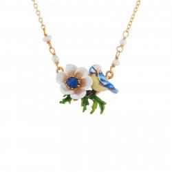 Colliers Pendentifs Collier Mésange Et Fleur Blanche
