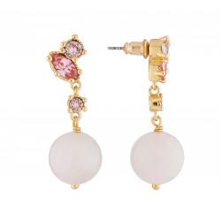 Boucles D'oreilles Pendantes Boucles D'oreilles Pendantes Tige Avec Perle De Quartz Et Strass Roses