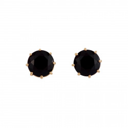 Black Round Stone Earrings