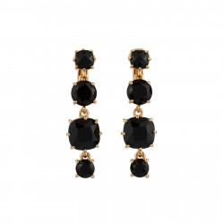 4 Black Stones Clip Earrings