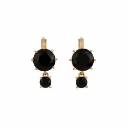 2 Black Round Stones Earrings