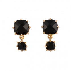 2 Black Square Stones Earrings