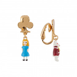 Boucles D'oreilles Boucles D'oreilles Clip Miniatures D'alice Et Le Lapin Blanc