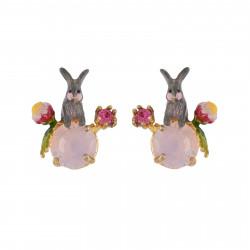 Boucles D'oreilles Tiges Boucles D'oreilles Lapin Et Fleurs Sur Verre Taillé