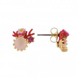 Boucles D'oreilles Tiges Boucles D'oreilles Petite Fleur Rose, Branche De Coraux Rouge Et Strass Sur Verre Taillé