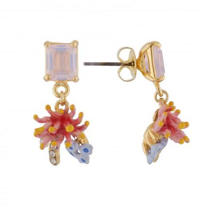 Petites boucles d'oreilles Cristaux de Fleurs: Aragonite et Gerbera symbolisant la santé