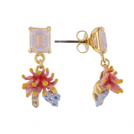 Small Cristaux de Fleurs earrings: Aragonite and Gerbera representing health