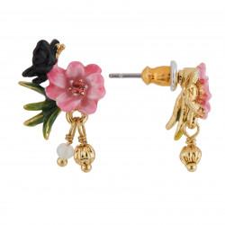 Boucles D'oreilles Tiges Boucles D'oreilles Tige Petite Fleur Rose, Papillon Et Pampilles