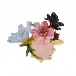 Bagues Ajustables Bague Ajustable Petites Fleurs, Papillon Et Verre Taillé