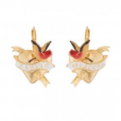 Boucles D'oreilles Dormeuses Dormeuses L'amour Toujours Coeur Et Oiseau120,00€ AJAT101D/1Les Néréides