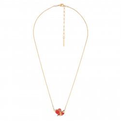 Colliers Pendentifs Collier Coeur Sur Oiseau Rouge Et Or