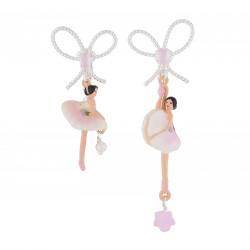 Boucles D'oreilles Clip Boucles D'oreilles Clip Ballerine Rose Et Blanche Avec Nœud