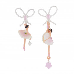 Boucles D'oreilles Clip Boucles D'oreilles Clip Ballerine Rose Et Blanche Et Pierre